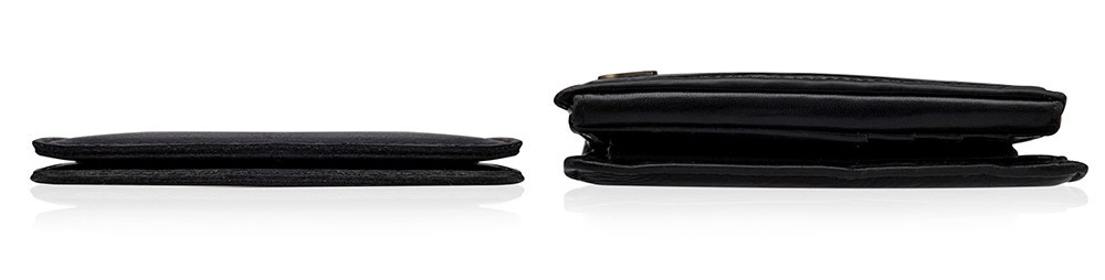 porównani cienkiego portfela z wypchanym portfelelm