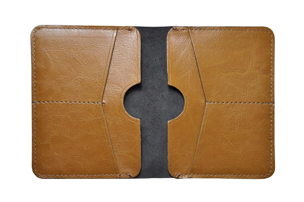 skorzany portfel slim camel srodek maly