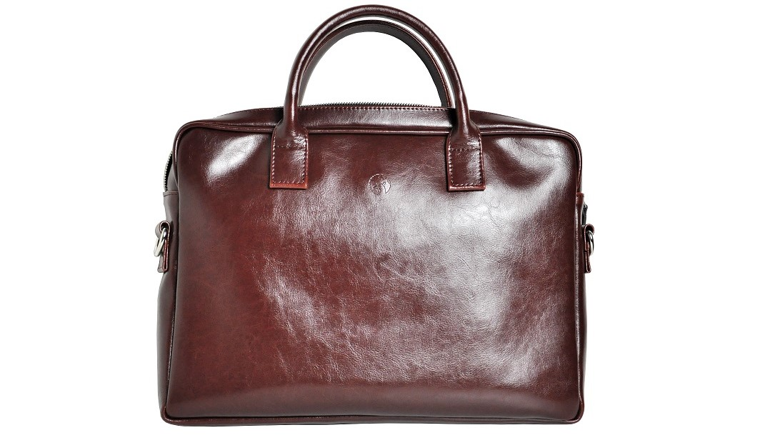 torba na laptopa ze skory mahoniowa front maly opis