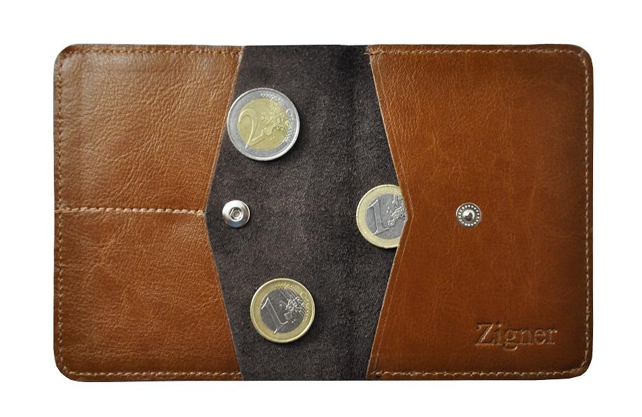 Skorzany portfel slim jasny braz zigner srodek monetyb1 maly