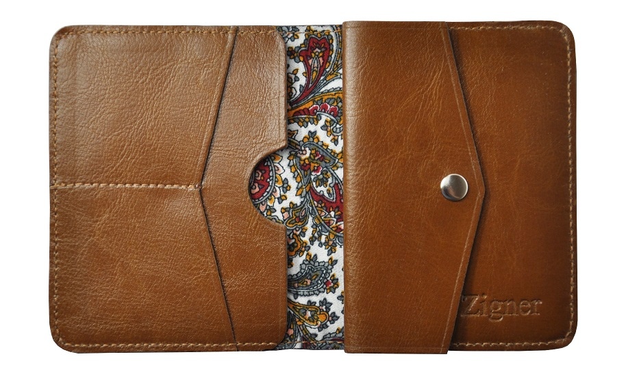 Skorzany portfel slim z bilonem jasny braz zigner maly