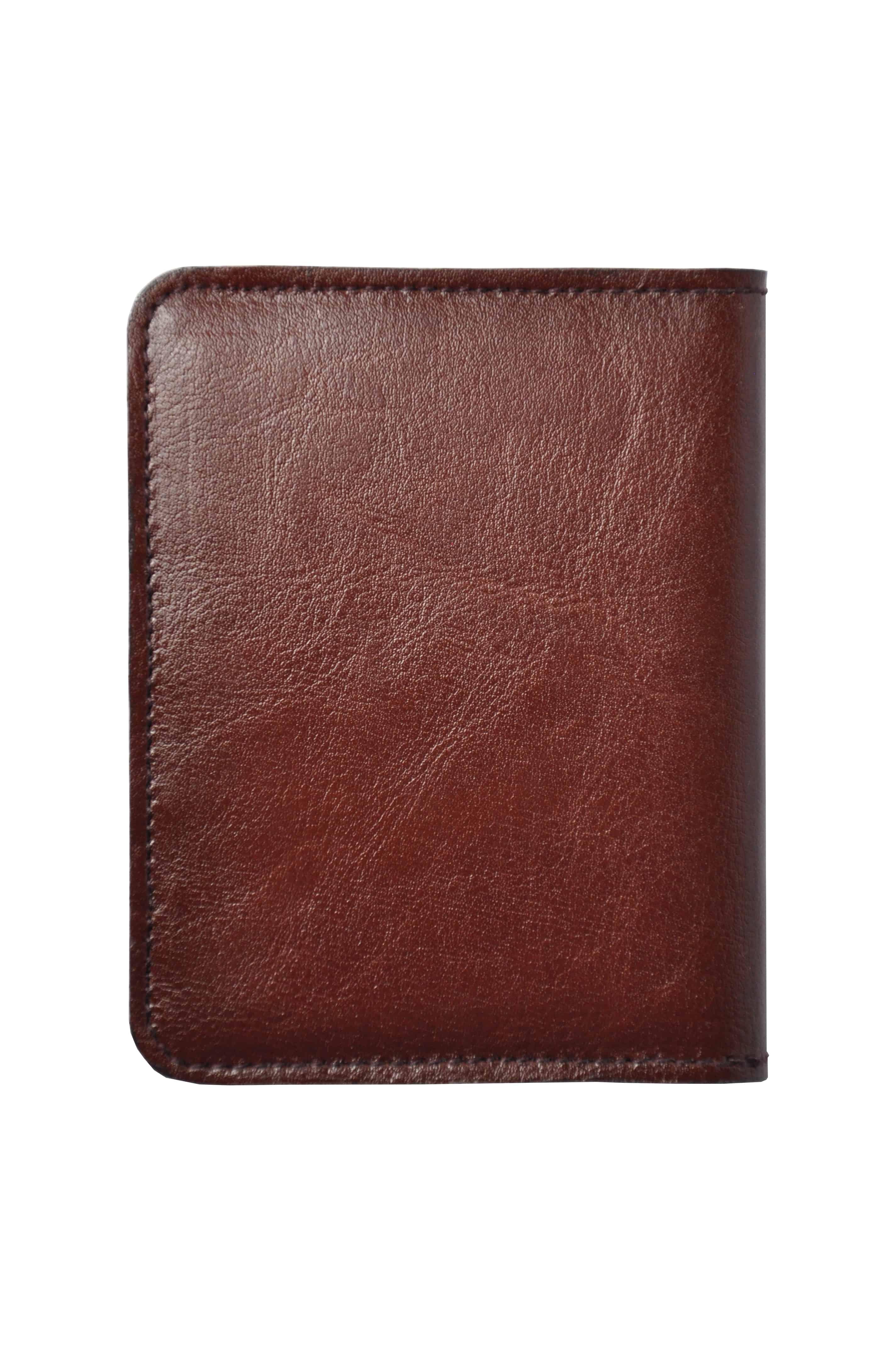 cienki portfel ze skóry męski kolor mahoń tył 1