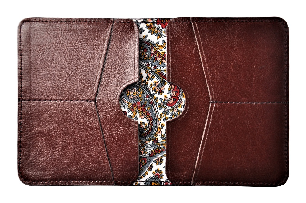 cienki portfel ze skóry slim kolor mahoń podszewka środek 1P