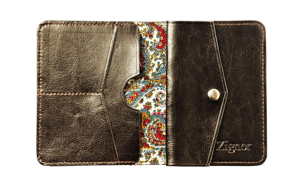 Cienki portfel skórzany dark brown coin fabric – środek2