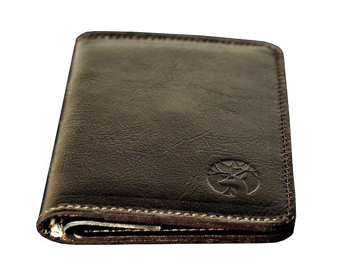 Cienki portfel skórzany dark brown coin – front podszewka