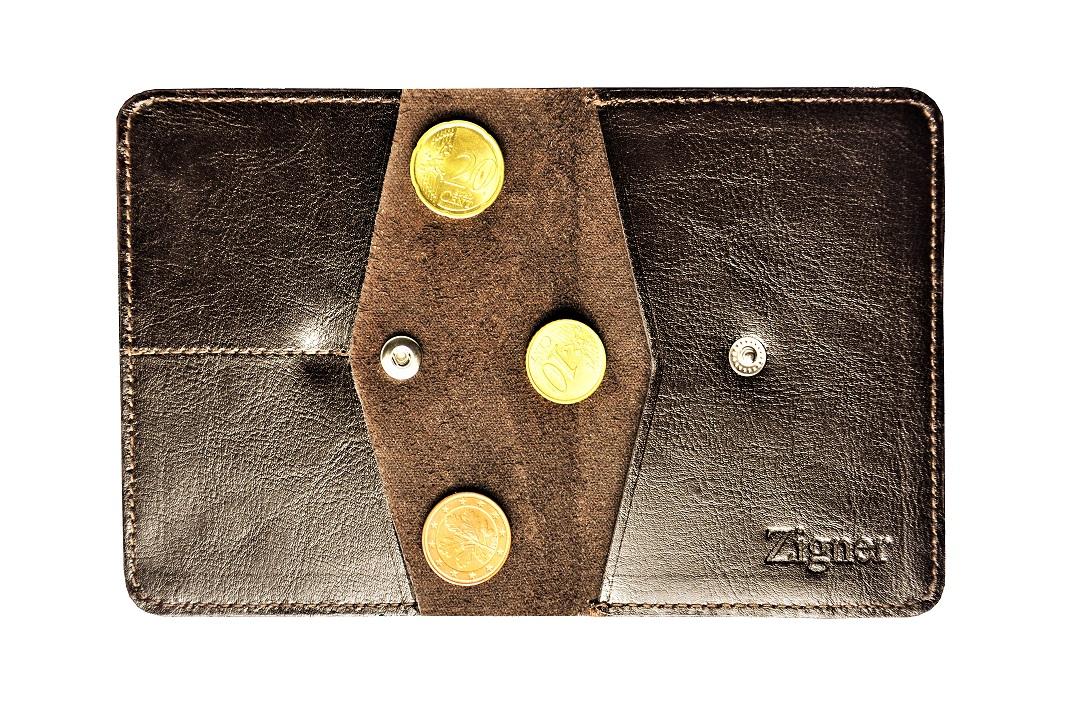 Cienki portfel skórzany dark brown coin – monety2b
