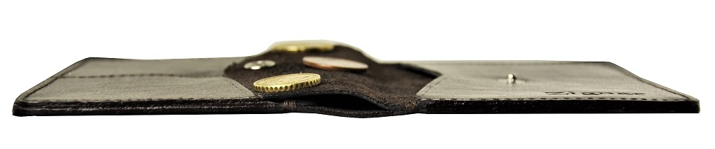 Cienki portfel skórzany dark brown coin - przekroj