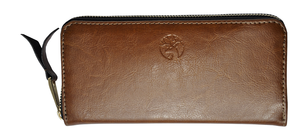 damski portfel ze skóry brązowy
