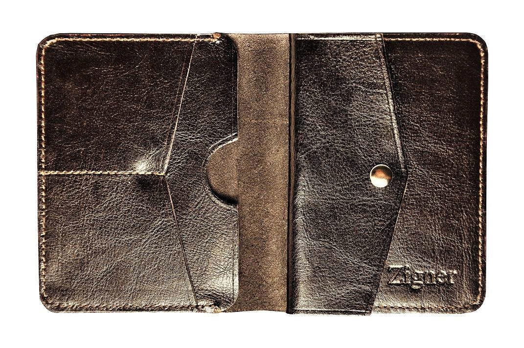 Portfel ze skóry ciemny brąz środek monety