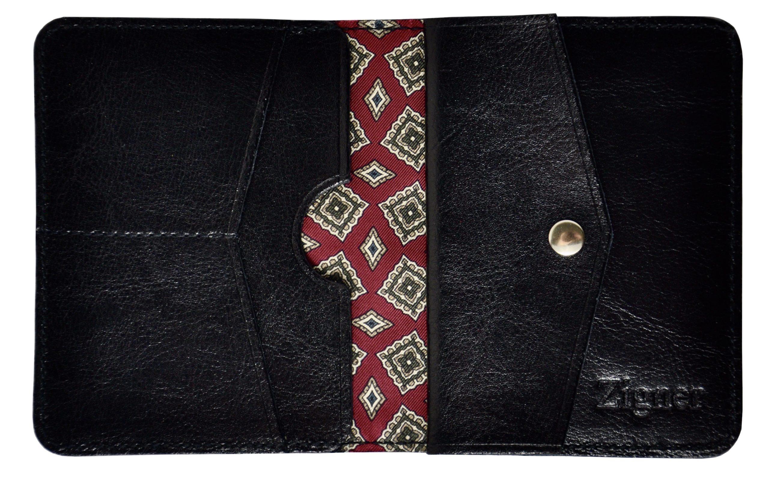 Cienki portfel ze skóry z jedwabiem i miejscem na monety