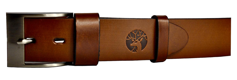 Pasek ze skóry do spodni brązowy zigner