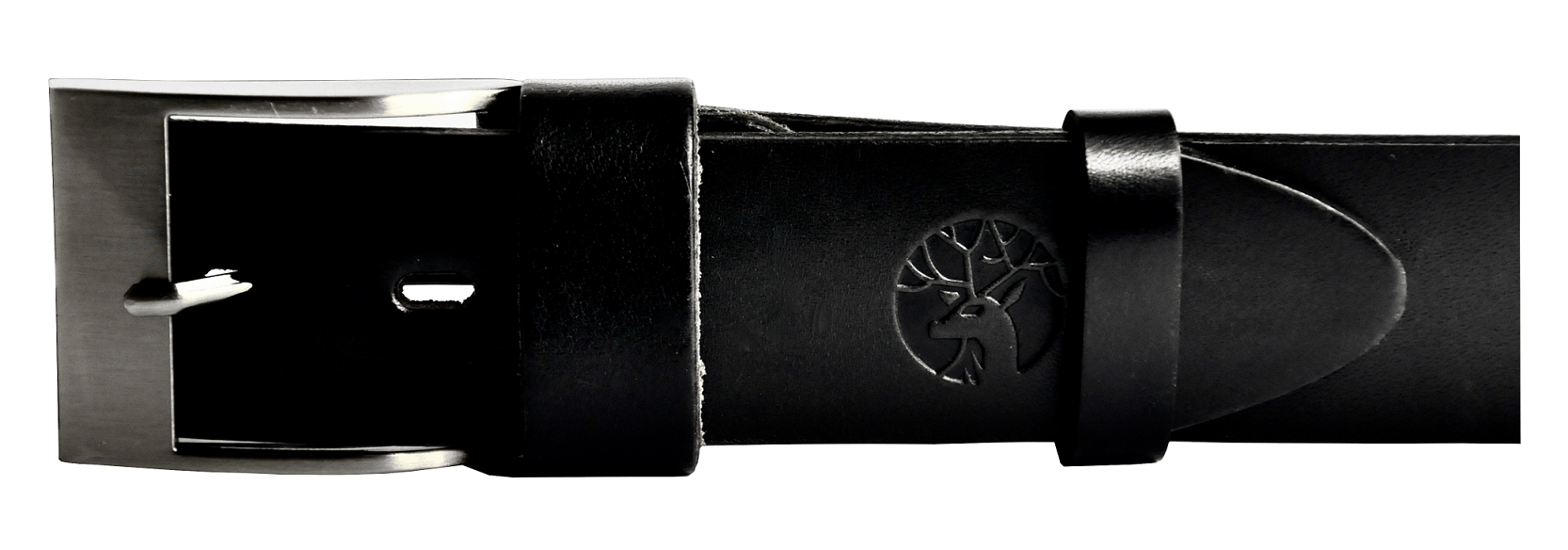 Pasek ze skóry czarny klamra klasyczna szeroki 4 cm