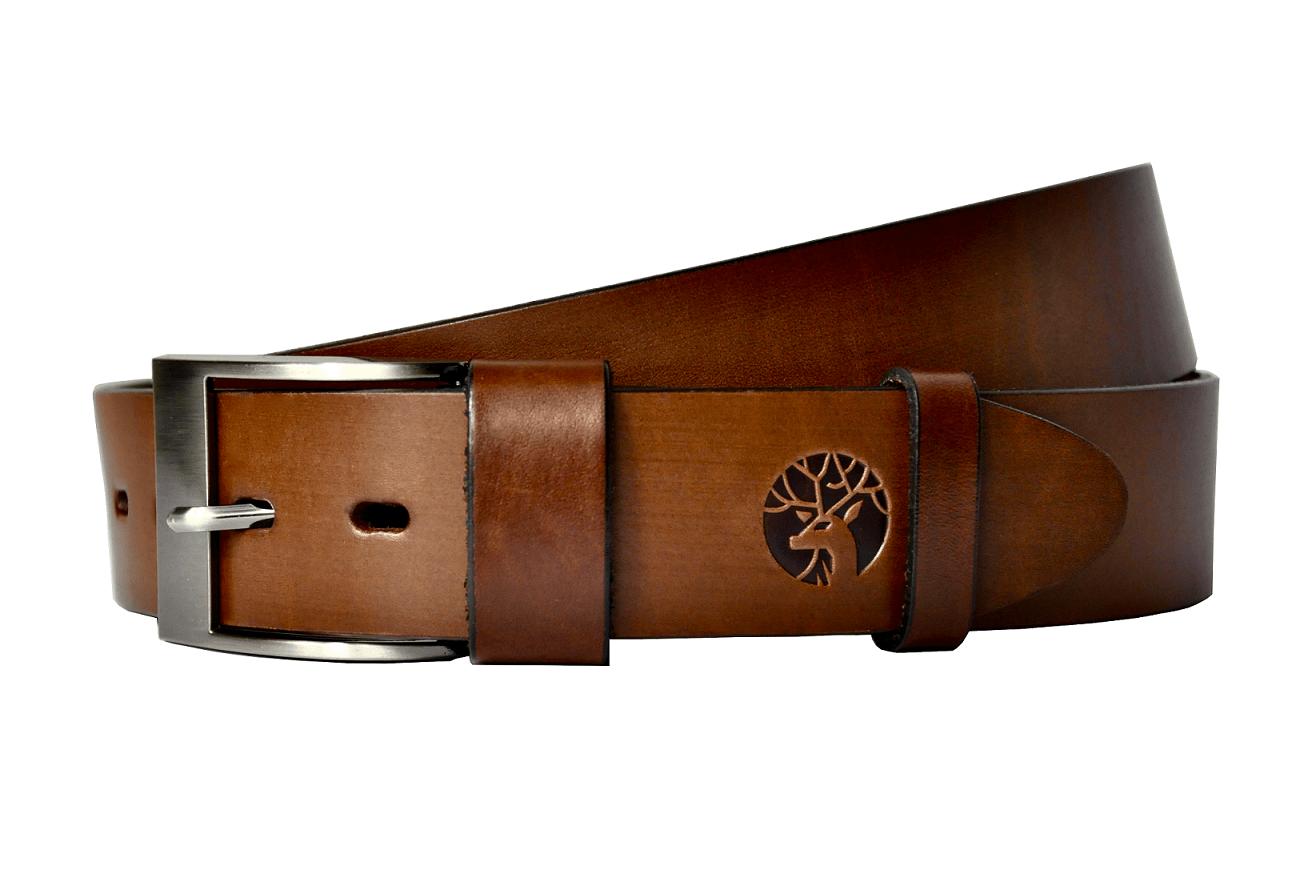 Pasek skórzany do spodni męski brązowy