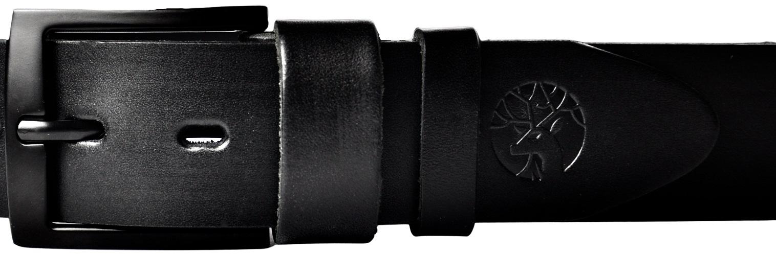 czarna klamra mat z czarnym skórzanym paskiem
